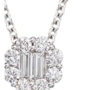 4 carats round and baguette diamond lady pendant s
